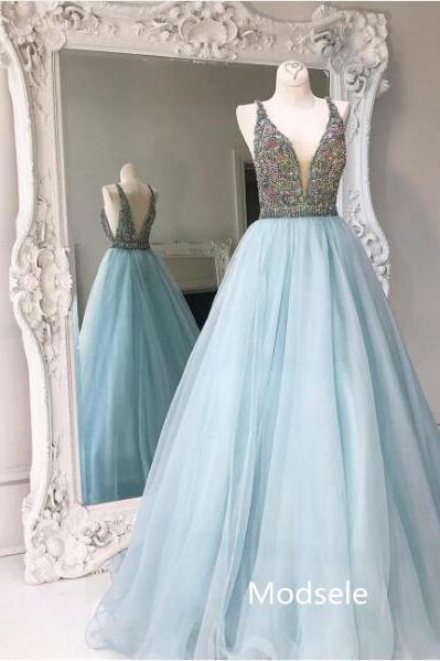 Elegant V-neck Long Light Sky Blue Beads Prom Dress Ball Gown