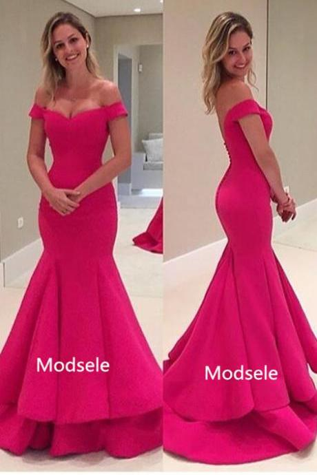 Elegant Off the shoulder Mermaid Hot Pink Long Prom Dress Evening Dress