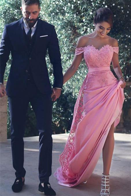 Gorgeous Off the shoulder Mermaid Long Pink Prom Dress Evening Dress Wedding Party Dress