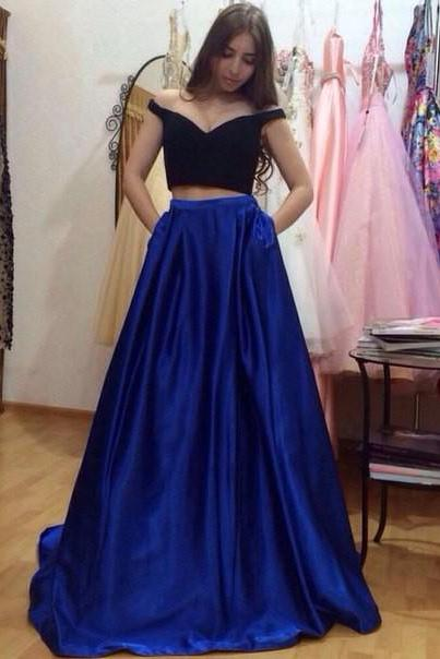 Two Piece Prom Dress 2017, Long Prom Dress, Royal Blue Prom Dress with Black