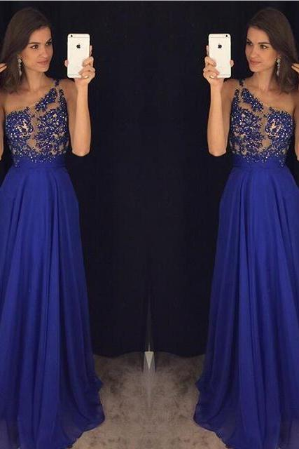 Gorgeous One-shoulder Long Royal Blue Prom Dress 2017