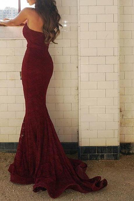 Strapless Mermaid Long Burgundy Lace Prom Dress Bridesmaid Dress