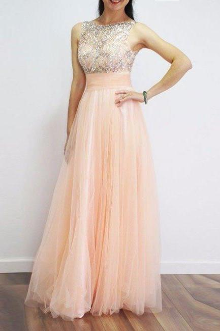 Gorgeous A-line Beads Scoop Long Light Peach Prom Dress