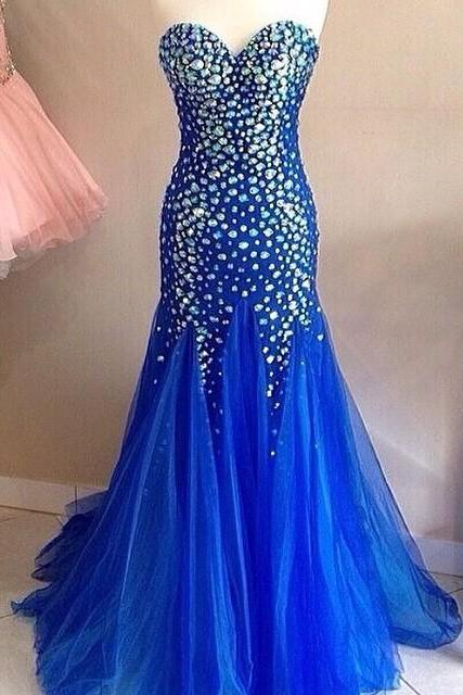 Blue Long Prom Dress, 2017 Mermaid Prom Dress