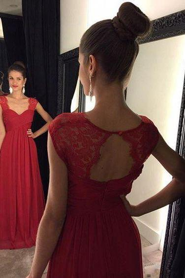 Simple A-line Red Long Chiffon Prom Dress under 100