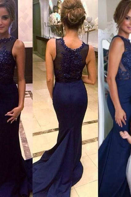 Gorgeous Navt Blue Mermaid Long Prom Dress Bridesmaid Dress