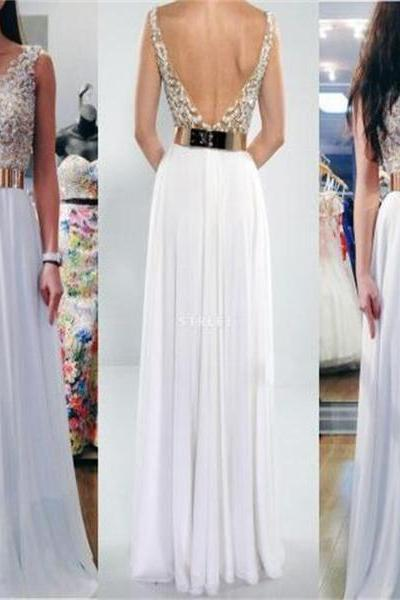 2017 Prom Dress, White Prom Dress with Gold Belt, Long Prom Dress