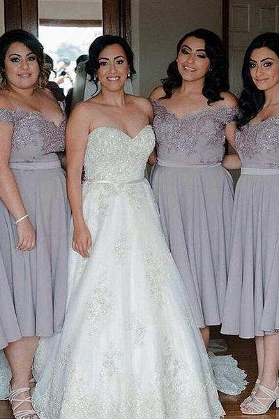 Off the shoulder Short Silver Chiffon Bridesmaid Dress Wedding Party Dress