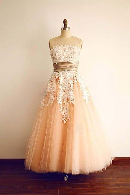 Strapless Vintage Tea Length Peach Prom Dress with Lace Appliques