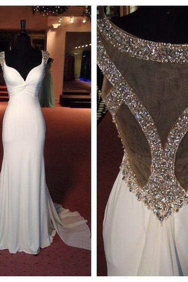 Elegant White Mermaid Long Prom Dress Evening Dress