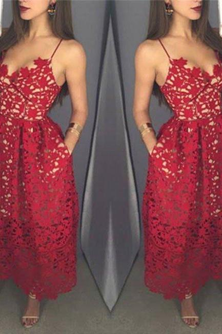 Elegant A-line Straps Red Lace Prom Dress