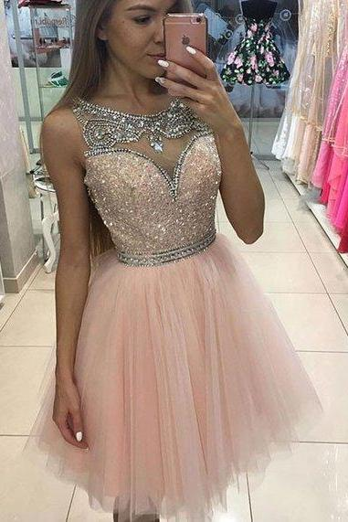 Cute A-line Short Pink Prom Dress Homecoming Dress Cocktail Dress