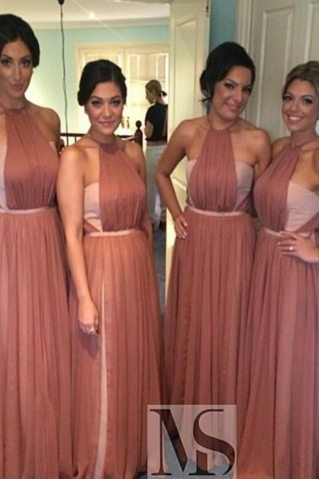 Special A-line Long Blush Pink Bridesmaid Dress Wedding Party Dress