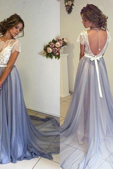 Elegant A-line Long Light Blue Prom Dress with White Lace Top