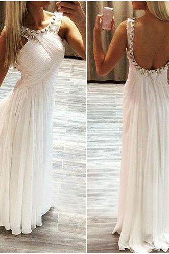 Simple A-line Long Beads White Prom Dress with Open Back