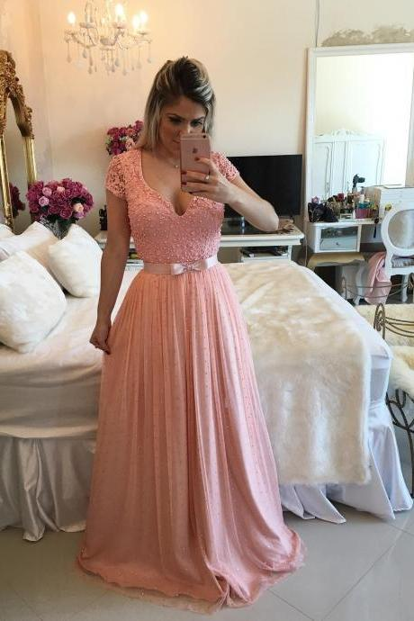 Pink Long Prom Dress - Beads Cap Sleeves