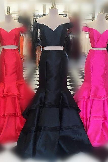 Two Piece Prom Dress, 2017 Prom Dress, Mermaid Long Prom Dress, Black Prom Dress, Red Prom Dress, Hot Pink Prom Dress