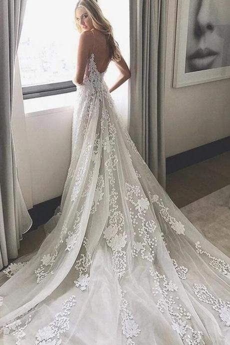 2017 Wedding Dress, White Lace Long Wedding Dress, Bridal Gown