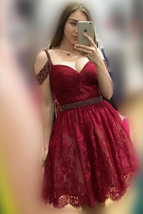 Cute Short Lace Red Prom Dress Homecoming Dress, Pink Short Lace Prom Dress Homecoming Dress,