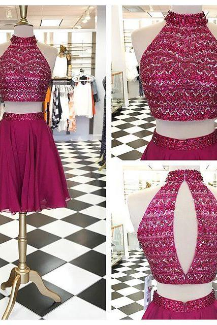 Sparkly Two Piece Short Prom Dress Homecoming Dress, Beads Two Piece Maroon Short Prom Dress Homecoming Dress