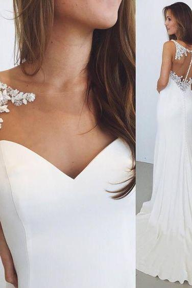 Gorgeous Mermaid Long White Wedding Dress with Train
