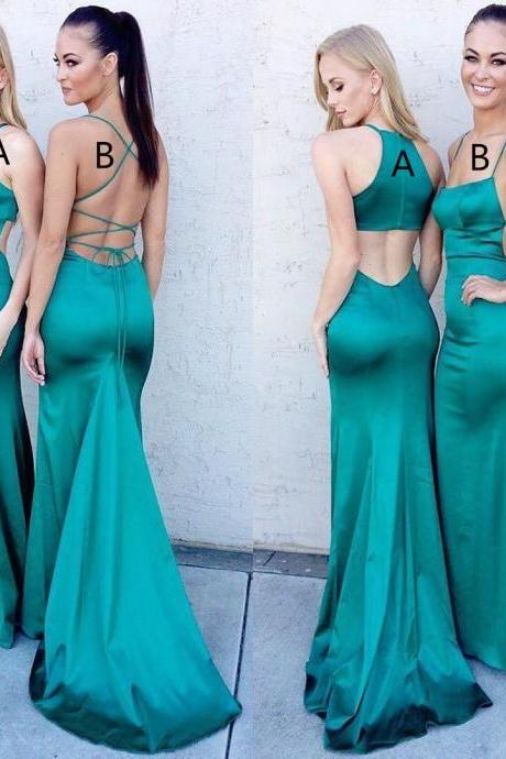 Sexy Mermaid Long Green Prom Dress Evening Dress