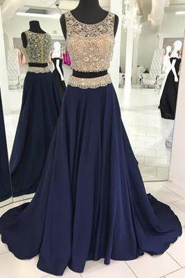 Two Piece Prom Dress, Luxurious Beads Prom Dress, 2017 Prom Dress, Navy Blue Prom Dress