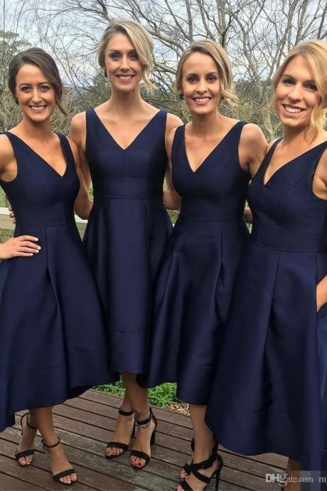 A-line High Low V-neck Long Navy Bridesmaid Dress