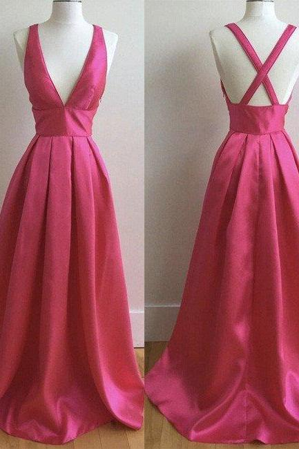 Simple A-line Hot Pink Long Prom Dress, Cheap Prom Dress under 100