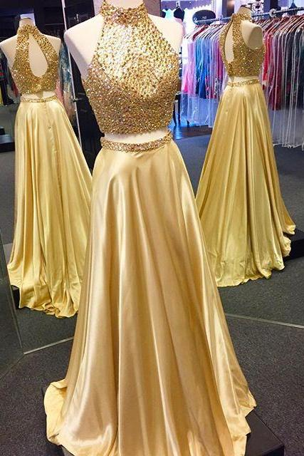 Two Piece Prom Dress, 2017 Sparkly Beads Long Prom Dress, Gold Long Prom Dress