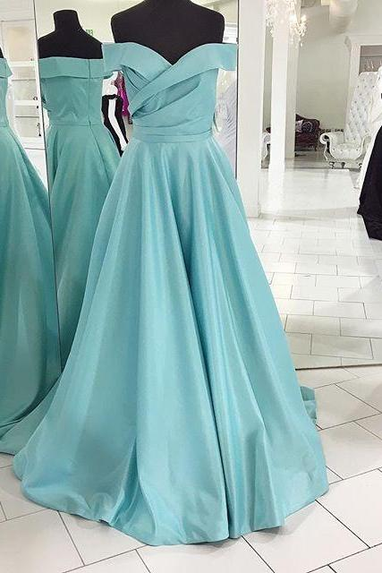 Elegant Off the shoulder Long Blue Prom Dress Evening Dress