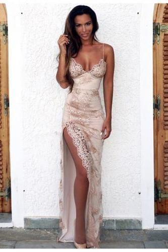 Gorgeous Spaghetti Straps Long Champagne Prom Dress with Slit