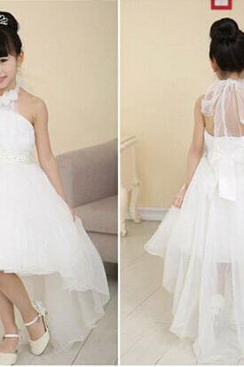 Cute A-line White High-low Flower Girl Dress