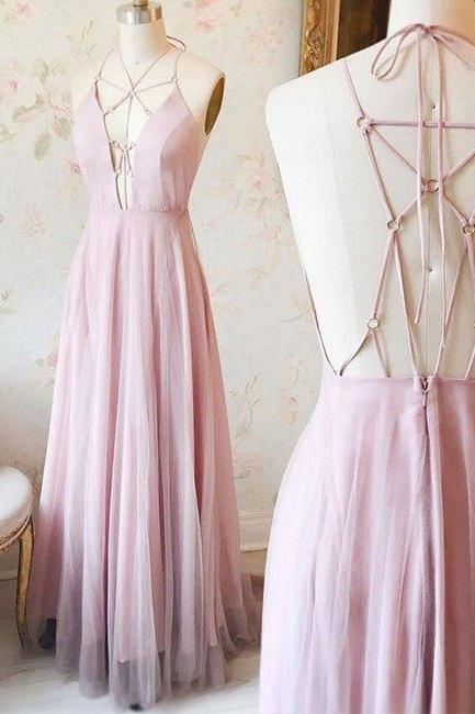 Custom Made Pink Plunging V-Neckline Long Strappy Prom Dress