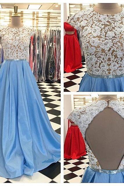 2017 Long Sky Blue Long Prom Dress with White Lace Top