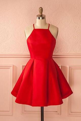 Short Straps Red Prom Dress Homecoming Dress