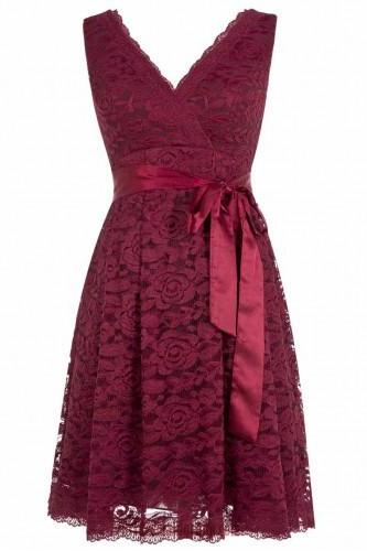 Cute A-line V-neck Short Knee Length Burgundy Lace Bridesmaid Dress