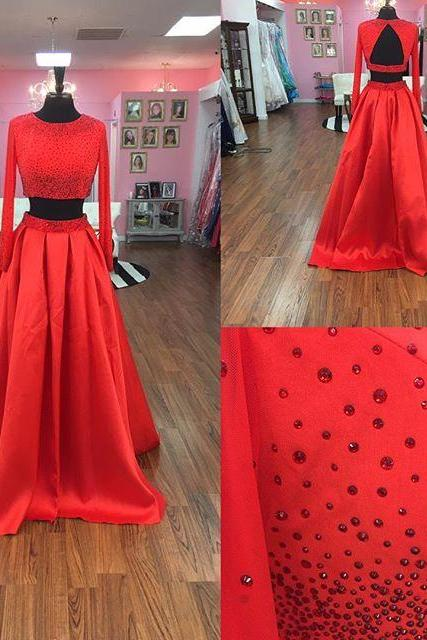 Two Piece Prom Dress, Long Sleeves Prom Dress, 2017 Red Long Prom Dress with Open Back