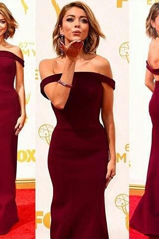 Gorgeous Off the shoulder Burgundy Mermaid Long Prom Dress Formal Evening Dress
