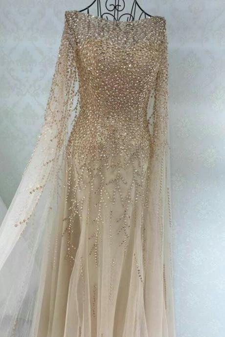 Luxurious Long Sleeves Beads Long Prom Dress Evening Dress