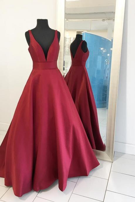 Simple A-line V Neck Long Prom Dress Ball Gown
