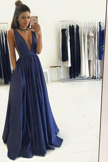 Gorgeous A-line Deep V Neck Long Dark Blue Prom Dress Formal Evening Dress
