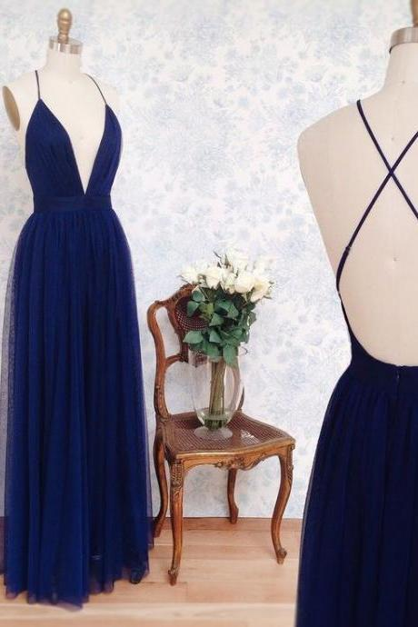 Simple A-lineRoyal Blue Long Tulle Prom Dress with Criss Cross Back