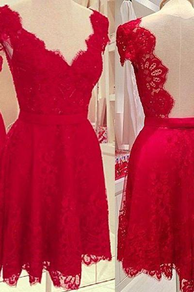 Short Red Homecoming Dress A Line V Neckline With Sleeves Lace Backless Prom Dresses For Junior Teens
