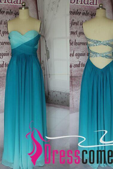 A-line Peacock Green Ombre Prom Dress,2017 Prom Dresses, Long Chiffon Cheap Ombre Evening Dress,Ombre Bridesmaid Dresses CBD001