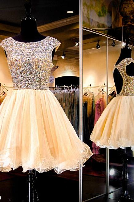 Hot Sales Cap Sleeve Bodice Open Back Champagne Tulle Homecoming Dress,Custom Made Short Prom Dress,Prom Gowns