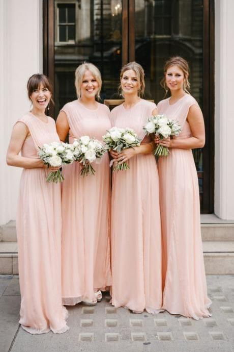 Modest A-line Pink Long Chiffon Bridesmaid Dress Wedding Party Dress