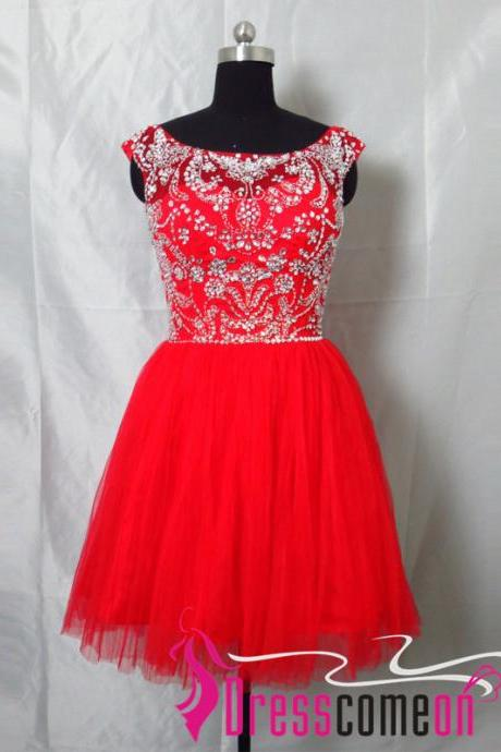Custom Made New Style A-line Scoop Sleeveless V-neck Back Short Red Prom Dresses /Party Dresses/Evening Dresses/Formal Dress CBD2011