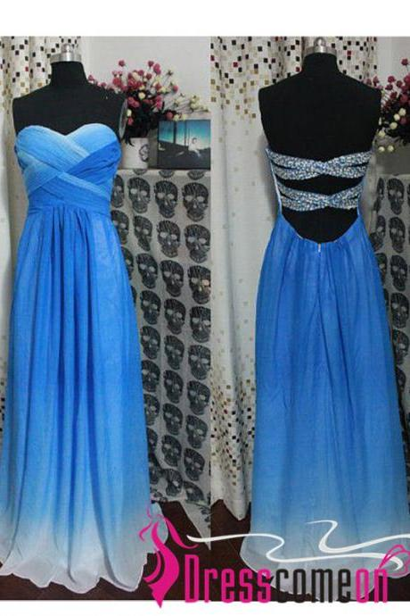 A-line Sweetheart Backless Long Prom Dresses, Chiffon Ombre Royal Blue Bridesmaid Dress/Prom Gown Open Back