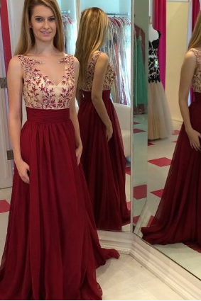 Hot sales burgundy lace chiffon champagne prom dresses,v neck open back long prom dress,cheap wine red prom dress ,formal women dress